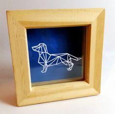 Papercut Geometric Dachshund miniature papercut by OoodleDoodle