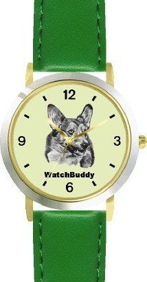 Corgi (SC) Dog - WATCHBUDDY® DESIGNER DELUXE TWO-TONE THEME WATCH - Arabic Numbers-EMERALD ISLE STYLE - Light Green Dial with Green Leather Strap-Children's Size-Small ( Boy's Size & Girl's Size ) WatchBuddy. $49.95