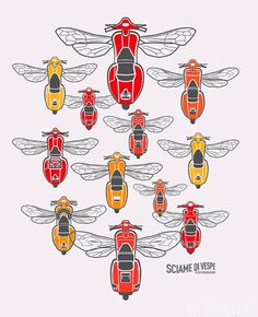 A collection of Vespa specimens gathered in the spirit of a group ride. Each is a stylised version of a real scooter, with the individual characteristics showcasing the pedigree of the Vespa breed. Vespa Ape, Scooters Vespa, Piaggio Vespa, Lambretta Scooter, Motor Scooters, Scooter Images, Vespa Illustration, Honda Metropolitan, Classic Vespa