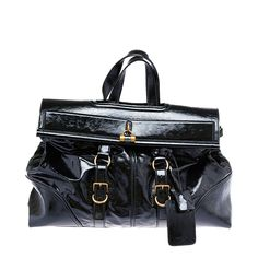 Yves Saint Laurent Black Patent Leather Weekender Duffle Bag   From a collection of rare vintage luggage and travel bags at https://www.1stdibs.com/fashion/handbags-purses-bags/luggage-travel-bags/