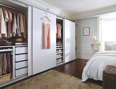 Making cutting clutter a New Year's resolution. Wardrobe Design Bedroom, Bedroom Wardrobe, Home Bedroom, Bedroom Decor, Ikea Wardrobe, Ikea Pax Closet, Wardrobe Wall, Closet Wall, Closet Space