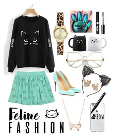 """""""The cat's meow 🐱 🐈"""" by fandom-fashions394 ❤ liked on Polyvore featuring True Craft, Miya, Betsey Johnson, Kate Spade, Burberry, Christian Louboutin, Charlotte Russe and BERRICLE"""