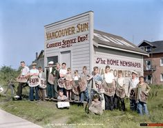 Vancouver Sun Service Department No. 41 hut and carriers, New Westminster, BC, 1933 - Canadian Colour Old Pictures, Old Photos, Vintage Photos, Vancouver Bc Canada, Vancouver Island, Westminster, Historical Pictures, History Facts, British Columbia