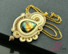 Gold Beige Soutache Pendant Kilatan with labradorite, Creamy Gold Pendant, Unique Gold Creamy Beige Labradorite Necklace, Statement Necklace by OzdobyZiemi on Etsy