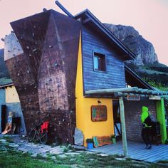 Cool little restaurant in El Chalten, complete with a climbing wall. #dreams #climbing