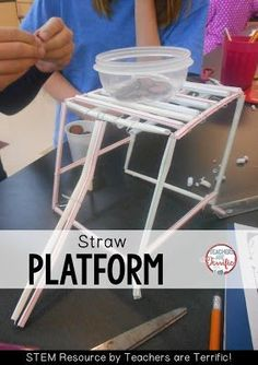 STEM Challenges: Straws are such a great material to use for your STEM projects. They are easy to use, come in many colors and sizes, and they are inexpensive! This task is to build a platform made of straws!