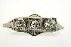 ANTIQUE 18K WHITE GOLD 1/2 CT 3 STONE OLD MINE CUT DECO FILIGREE DIAMOND RING 7 #ThreeStone