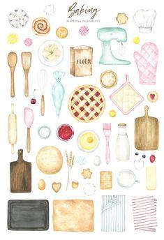 Cooking Clipart, Baking Wallpaper, Scrapbook Recipe Book, Recipe Book Design, Kitchen Clipart, Bakery Decor, Baking Logo, June Challenge, Cooking