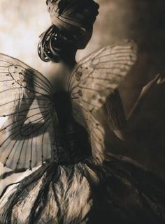 Vintage fairy girl with wings - poster