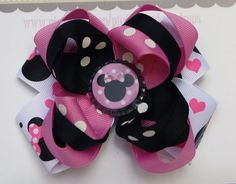 Pink and Black Minnie Mouse Bow by pigtailsandgumdrops on Etsy, $9.00