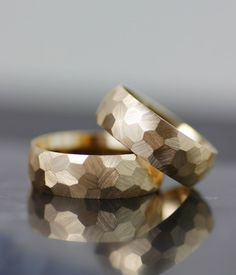 Image of men's or women's wedding bands, wedding ring set, gold or palladium faceted honeycomb texture