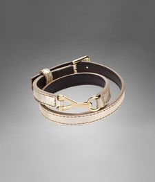 YSL Chyc Double Bracelet in Metallic Gold Leather