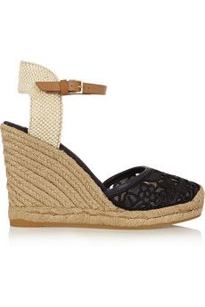 cc76d5f86249 Tory Burch - Lucia leather and canvas wedge espadrilles. Shoes Heels ...