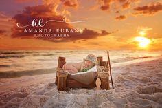 Prefect Pier by Mr & Mrs & Co prop, baby boy newborn beach session, sunset newborn beach portrait session, Amanda Eubank Photography