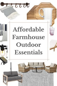 Here are some of my favorite outdoor items to freshen up your space with the cozy cottage farmhouse feel you're lookig for. Rustic Outdoor Rugs, Indoor Outdoor Rugs, Outdoor Living, Outdoor Decor, Rustic Farmhouse Furniture, Farmhouse Design, Cottage Farmhouse, Cozy Cottage, Porch Decorating