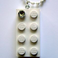 White LEGO brick 2x4 with a 'Diamond' color SWAROVSKI crystal on a 24 White ballchain at the Shopping Mall, $11.99  ***  http://www.facebook.com/MademoiselleAlma  Hope you LIKE my Facebook page-shop ♥    &    http://www.etsy.com/shop/MademoiselleAlma