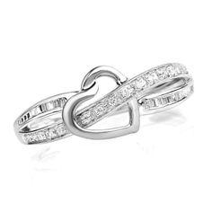 1/8 CT. T.W. Diamond Heart Promise Ring in 10K White Gold