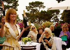 Planet Grape's Master Sommelier Catherine Fallis flawlessly sabering a magnum of Laurent Perrier at a Concours d'Elegance kick-off luncheon, Carmel-by-the-Sea. Styled by Glamour Goddess Maria Murray Finkle. Champagnes provided by Laurent Perrier. Laurent Perrier, Wine Reviews, Champagne, Glamour, Elegant, Sea, Women, Style, Classy