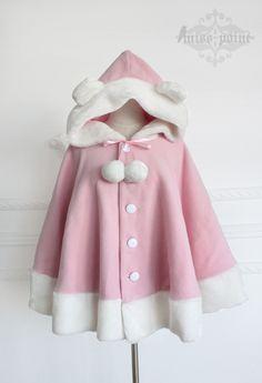 **Shirokuma Cafe*Lovely Cashmere Cloak with a bear-ear cape Warm Outfits, Pink Outfits, Cute Casual Outfits, Fashion Outfits, Kawaii Fashion, Lolita Fashion, Looks Kawaii, Kids Dress Wear, Cashmere Cape