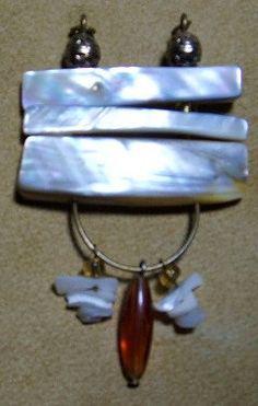 Abstract jewelry,White Shell Pendant, Women's jewelry, Native inspired, OOAK jewelry,Handmade jewelry