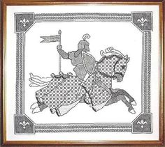 The Black Knight, blackwork design by Carol Leather available as a download at http://www.needlework-tips-and-techniques.com Blackwork Cross Stitch, Blackwork Embroidery, Embroidery Kits, Cross Stitching, Cross Stitch Embroidery, Medieval Pattern, Cross Stitch Kits, Cross Stitch Charts, Cross Stitch Patterns