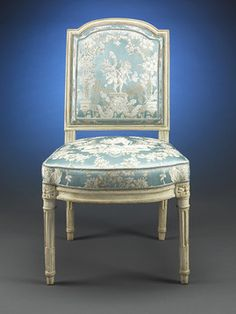 Louis XVI chair, 1775, that was once part of the legendary palace of Versailles private collection. The chair bears the mark of Versailles branded into the frame under the seat. Based on it's outstanding quality and distinctive craftsmanship, this chair is attributed to famed ébénistes Jean-Baptiste-Claude Sené or Jean-Baptiste Boulard, both of which have similar works currently housed in Versailles. ~ M.S. Rau Antiques