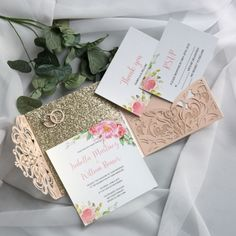 Spring Laser Cut Wedding Invitations, Rose gold glitter wedding colors, blush pink greenery watercolor flowers, elegant wedding invitations, cheap wedding invitations - Best Hairstyles & Haircuts for Men and Women in 2019 Wedding Invitation Etiquette, Affordable Wedding Invitations, Wedding Etiquette, Laser Cut Wedding Invitations, Cheap Invitations, Gold Glitter Wedding, Rose Gold Glitter, H Design, Spring Wedding Colors