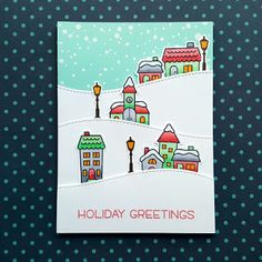 """A Christmas card using the """"Winter Village"""" stamp set from """"Lawn Fawn""""."""
