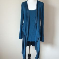Royal Blue Cardigan/Tank Combo Very cute brilliant blue cardigan with attached undershirt, long sleeved, under layer is a satin material, NWT Miilla Tops Tank Tops