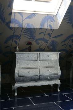 Stylish silver bathroom cabinet