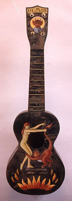 Restored antique ukulele w/painted design by Amy Crehore 2009. The duco finish has a nice pattern to it and the back of this uke is pretty, too. There are some pictures of some of the uke backs in this flickr set, including this one....keep scrolling So You Want To Be A Picker? Online Course -CLICK ON THE PICTURE ABOVE ^