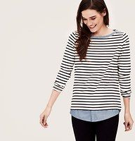 Petite Two-In-One Softened Shirt - Meet the softened shirt: it's effortless, carefully crafted and one you'll reach for again and again. Get a layered look with zero effort: this soft striped top has a built-in shirttail hem. Ballet neck. Long sleeves.