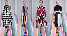 These particular looks are from the Milan Fashion Week, fall-winter 2016-2017. These four dresses directly relate to the op-art style that was prominent in the 1960's. The YSL shift dress created an illusion of movement on the body. With these four dresses from Milan Fashion Week, the patterns and silhouettes create that illusion of movement, as well. Another similarity of these dresses that resemble the 60's is the colors within the garment. -Stephanie Padilla March 23, 2017