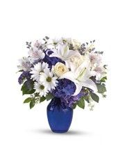 Blue flowers add a cool and calm beauty to any floral arrangement and occasion. Get your blue bouquet hand-arranged and hand-delivered by a local florist.