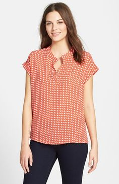Like the style. Love it in an orange.  Pleione Print Split Neck Blouse (Regular & Petite) available at #Nordstrom