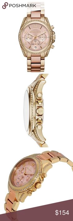 Michael Kors Blair Chronograph Rose Tone Gold Watc 100% Authentic Michael Kors!  Buy with confidence!  • MSRP: $275.00 • Style: MK6316  Features: • Ladies Michael Kors watch collection • Gold steel tone crystallized case • Gold tone and rose gold steel link strap • Rose and gold crystallized dial • Case size: 39 mm • Scratch resistant: mineral crystal • Chronograph feature • Date Display • Water resistant: 100 meters 330 feet • Movement: Quartz • Comes with original box and booklet •…