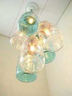 vintage blue mason jar chandelier light, unique kitchen lighting & decor