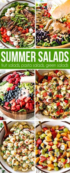 The best summer salad recipes from fruit salads to green salads tot pasta salads all in one place! #salad #saladrecipes #saladdressing #saladideas #chickenfoodrecipes #summerrecipes #fruitsalad #pasta #pastasalad #pastarecipes #potluck #sidedishrecipes #4thofjuly