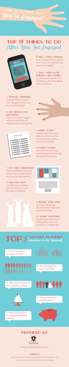 "Do you know the top ten things to do after getting engaged? Find out what steps you should take after saying, ""yes!"" by taking a look at this infographic from a wedding reception venue located in West Chester."
