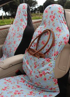 Me Mo Airbag Friendly Car Seat Covers Pale Blue Vintage Rose