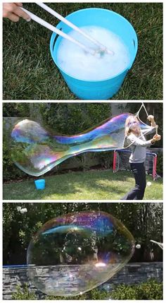 How to Make The Strongest Giant Homemade Bubbles My husband whipped up a batch of this bubble juice today and we had the most fun we have ever had in our yard. We had the sprinklers on, the music on and happy kids. Bubbles make all kids (including big adult kids, happy) I have no idea why but they are magical and mesmerizing. If you want to make strong giant bubbles that just sit and float a long time, this is for you. What you need: Dawn Liquid Dish Soap 8ozGuar Gum 1Tbsp Baking Powder…