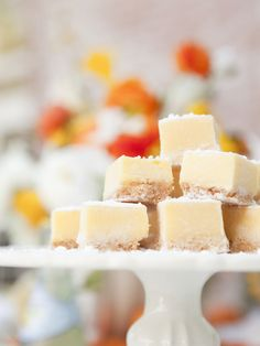 Lemon- or lime-inspired dessert, like these elegant bite-sized lemon bars. Serve stacked on a footed platter or cake plate for a sophisticated touch.