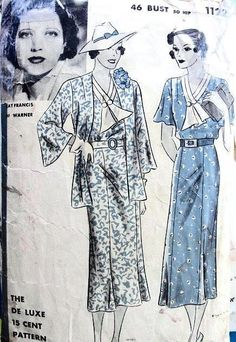 1930s BEAUTIFUL DECO DRESS, JACKET PATTERN KAY FRANCIS HOLLYWOOD MOVIE STAR PATTERNS 1122