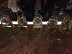 Prosecco on the copper bar. Bar piazza, Caerleon & Newport