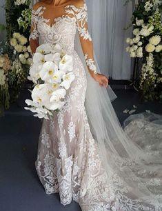 Elegant Scoop Long Sleeves Appliques Lace Mermaid Wedding Dress,wedding dresses 2016,long sleeves wedding dresses,lace wedding dresses