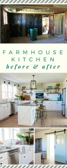 our fixer upper farmhouse kitchen: white shaker cabinets, white oak floors, farmhouse sink, open shelves, barn door www.theharperhouse.com via @theharperhouse