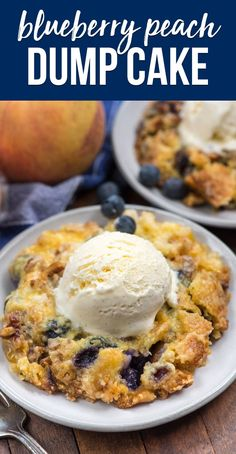 Make a Blueberry Peach Dump Cake for your next party - this EASY cake has just 5 ingredients and everyone loves it! via @crazyforcrust