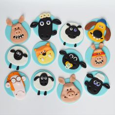 shaun the sheep themed fondant cupcake toppers