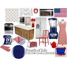 """""""Red, White and Blue Kitchen"""" by awkwardturtle31415 on Polyvore"""