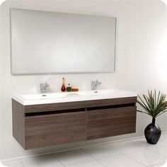Fresca Largo Teak Modern Bathroom Vanity Bath Pinterest - Modern double sink bathroom vanity cabinets
